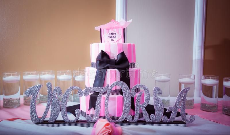 Cool Victoria Sweet 16 Birthday Cake With Pink And White Color Scheme Funny Birthday Cards Online Necthendildamsfinfo