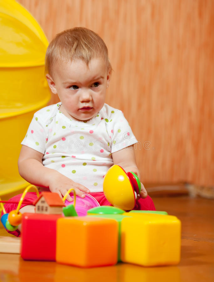 Year-old child with toys royalty free stock images