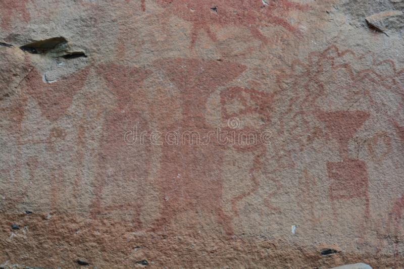 3,000 year-old cliff paintings. royalty free stock photo