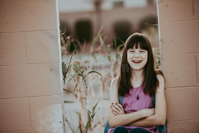 10 Year Old Girl Laughing girl royalty free stock photography