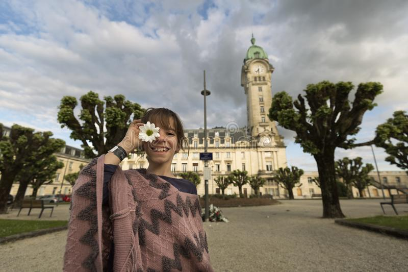 11-year-old Spanish girl in front of the Limoges royalty free stock photography