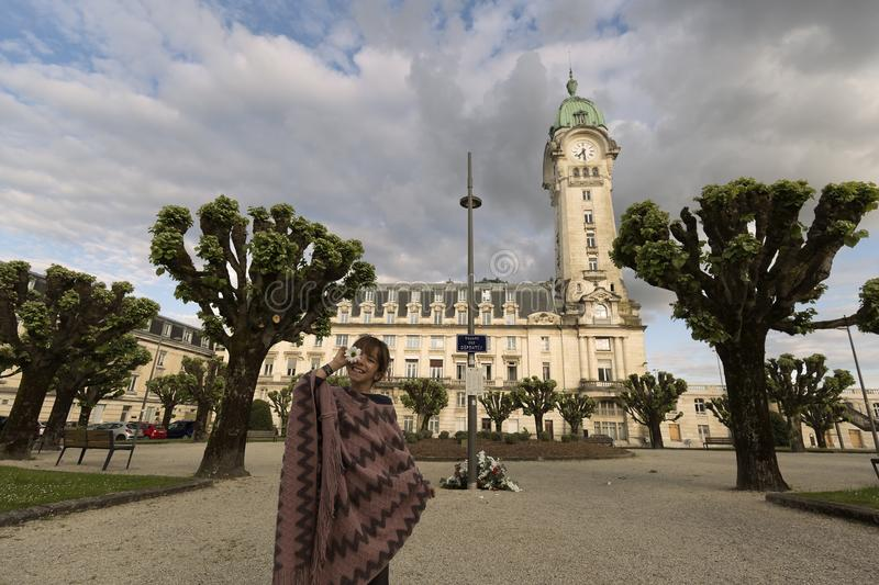 10-year-old Spanish girl in front of the Limoges station stock photography