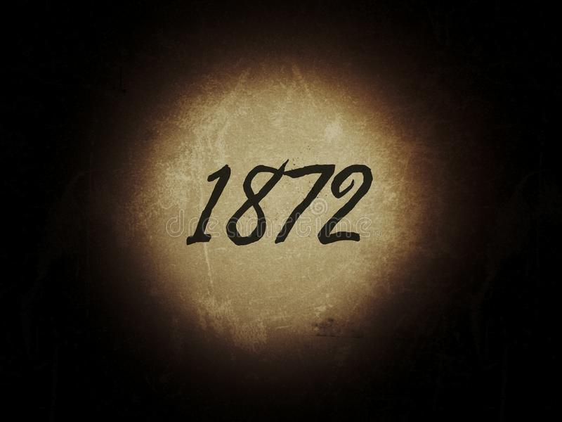 The year of 1872 on the old vintage page. Year 1873 1872 old vintage page numbers digit history royalty free stock photos