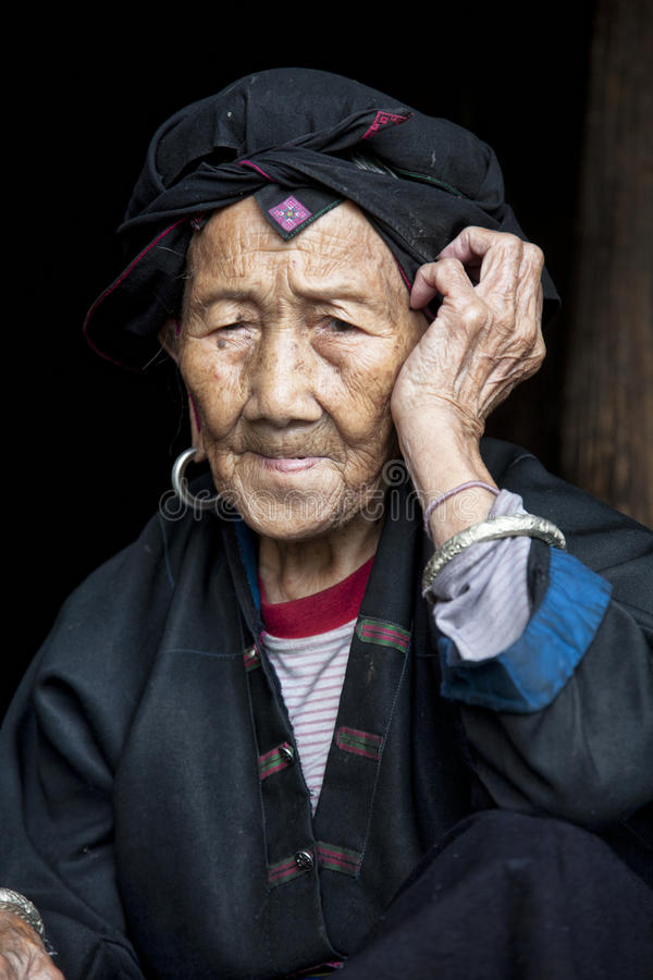 96 year old woman from the Hong Yao Ethnic Tribe stock images