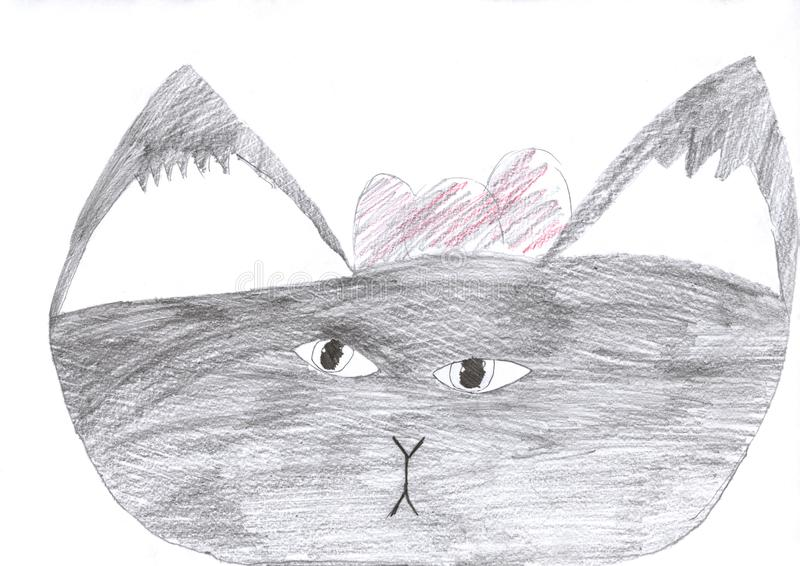 Kid drawing of a cute cat grey pencil drawing isolated on white royalty free illustration