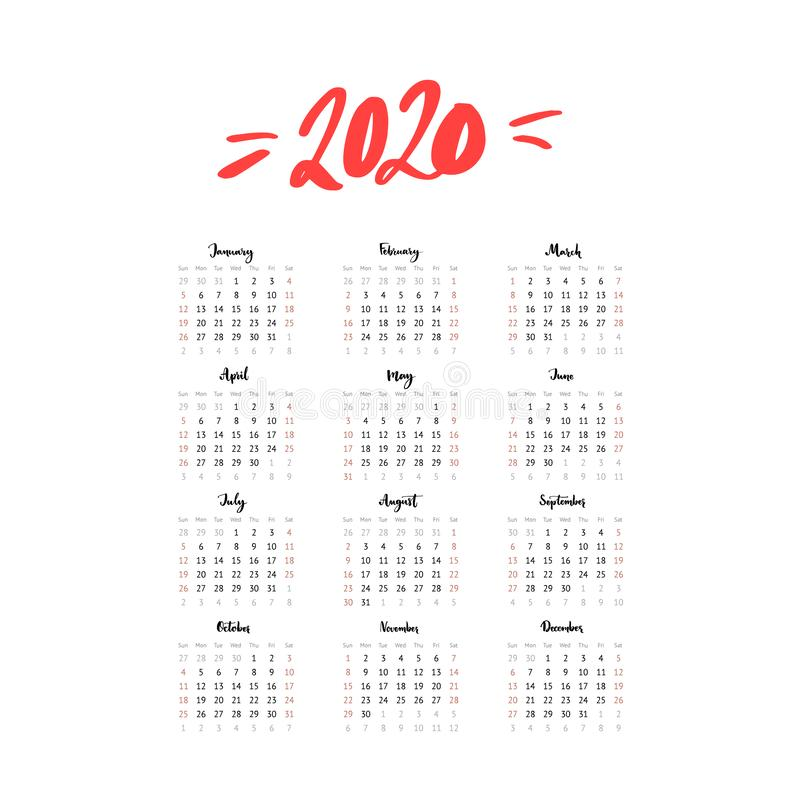 2020 year one page calendar. Week start Sunday, us format. Simple and clean grid template with calligraphy months stock illustration