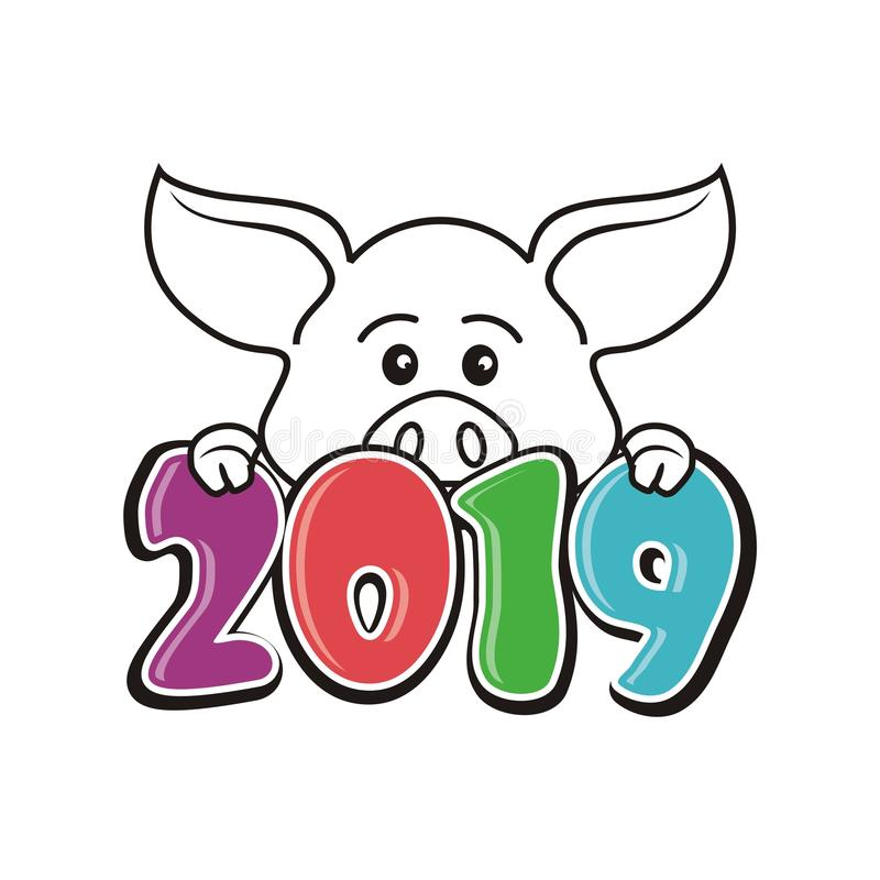 Year Of the pig - 2019 chinese new year. Vector illustration text / number design, with lovely hand drawn of pig vector illustration