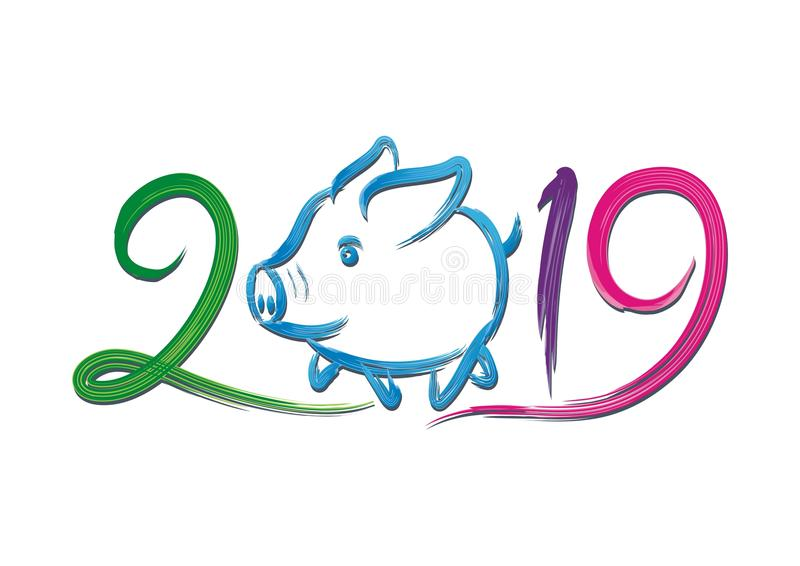 Year Of the pig - 2019 chinese new year. Vector illustration text / number design, with lovely hand drawn of pig stock illustration