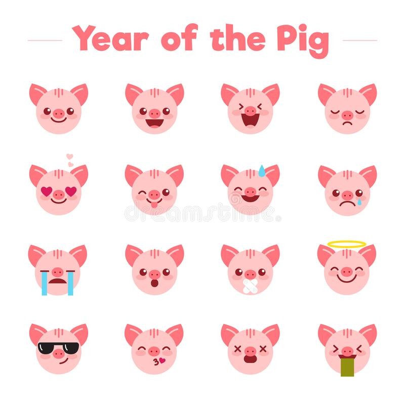 Year of the Pig flat cartoon character emoji emoticons set.Different type of funny mascot piglets symbols icons emojis vector illustration