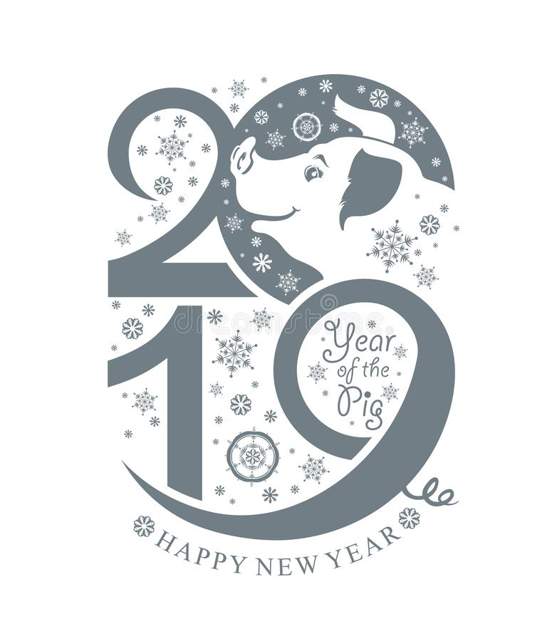 Year of the Pig 2019. Vertical template New Year`s design royalty free illustration