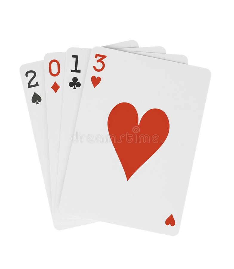 Year 2013 Playing Cards with Hearts on Top Clippin vector illustration