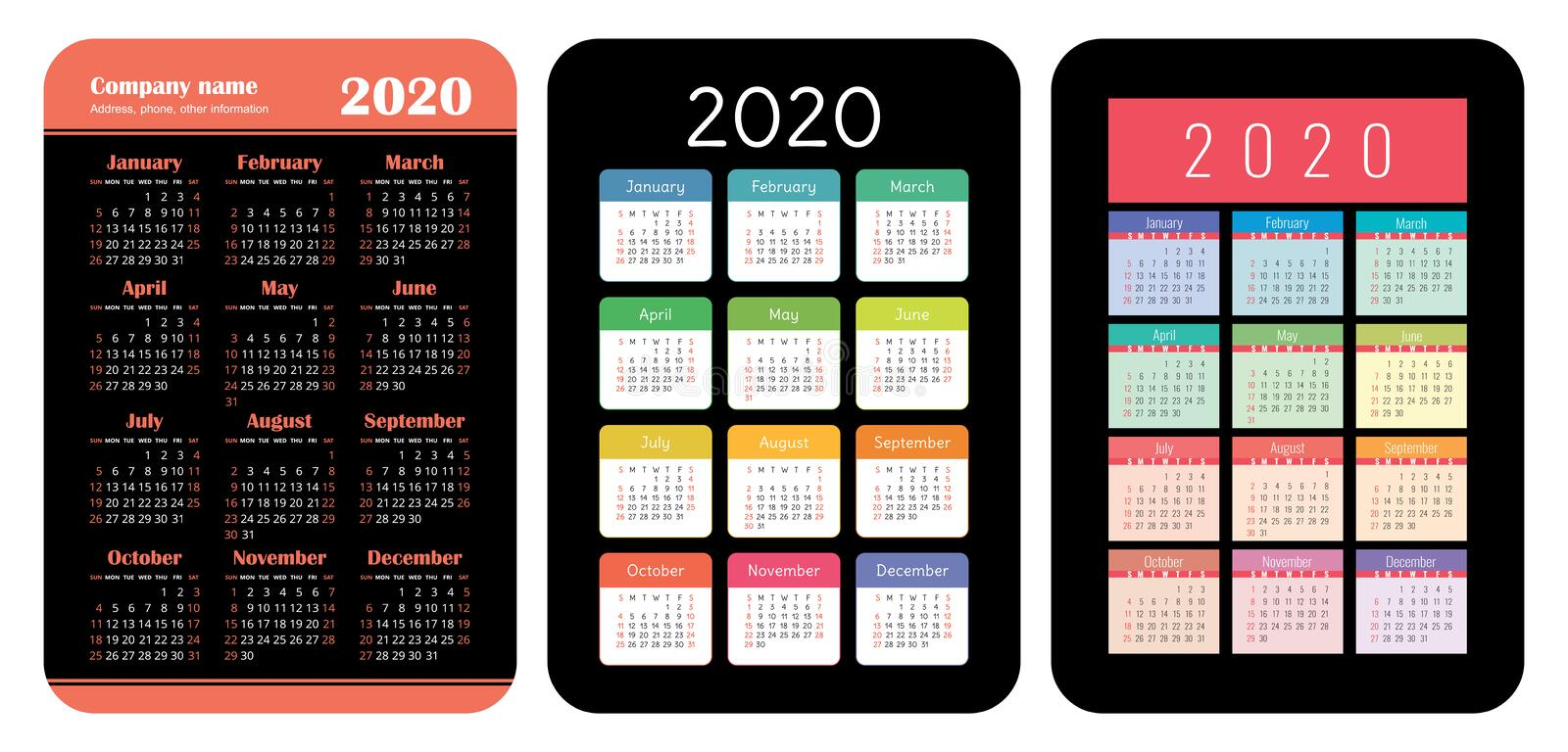 2020 year. Pocket calendar set. Basic grid template for print. Vector design collection. Color English calender. Week starts on. Sunday royalty free illustration