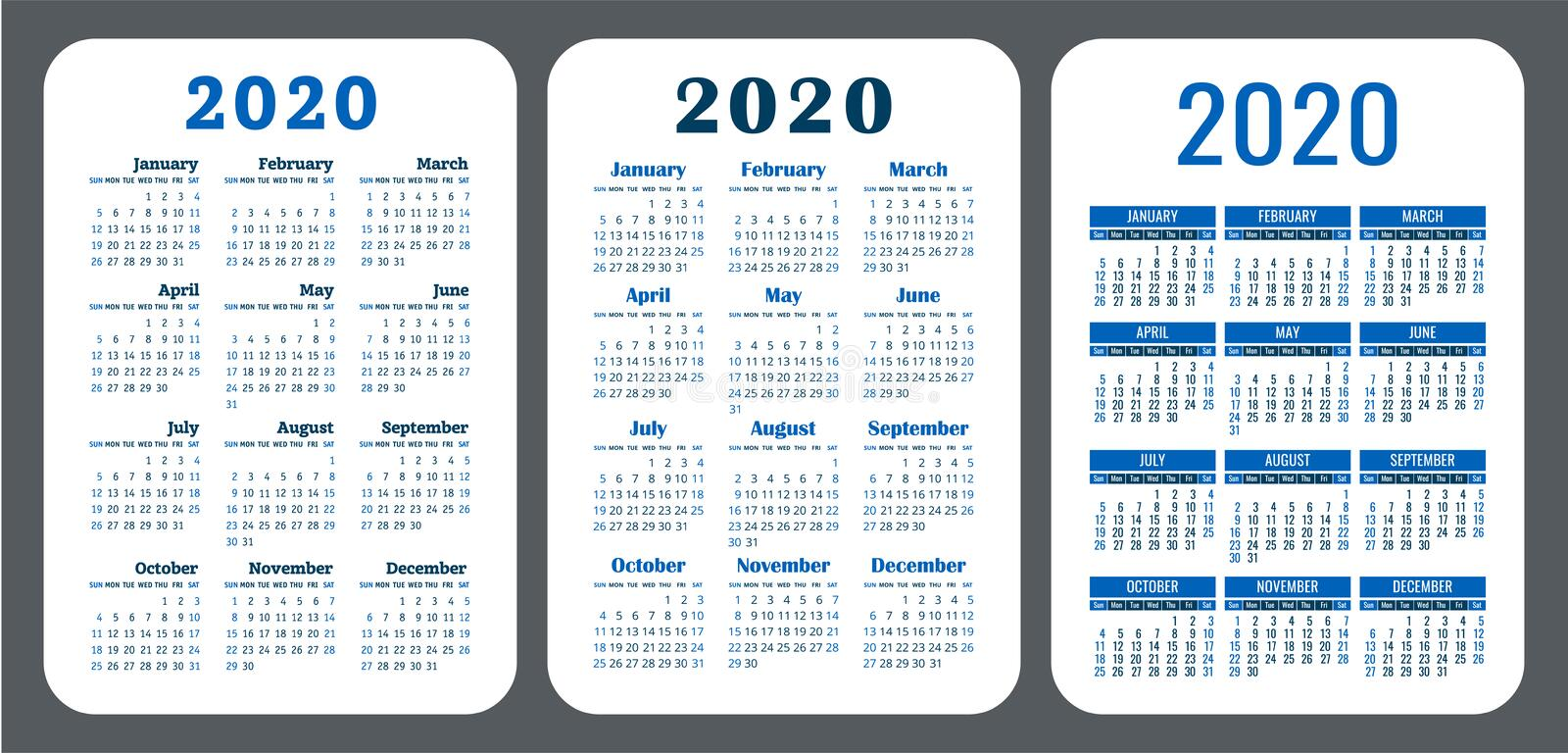 2020 year. Pocket calendar set. Vector design collection. Color English calender. Basic grid template for stock photography