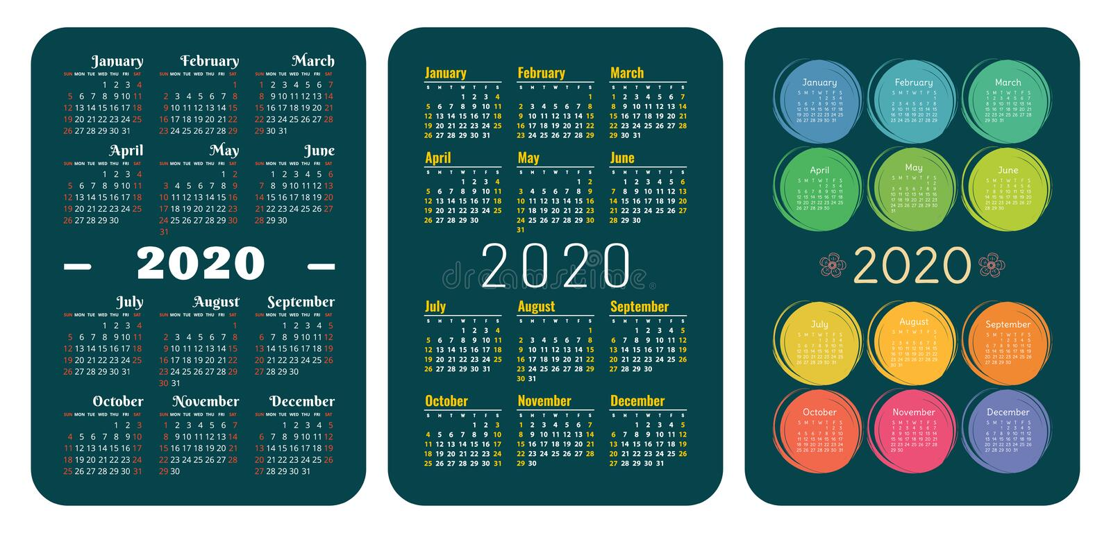 2020 year. Pocket calendar set. Vector design collection. Green color English calender. Basic grid template for print. Week starts stock photography