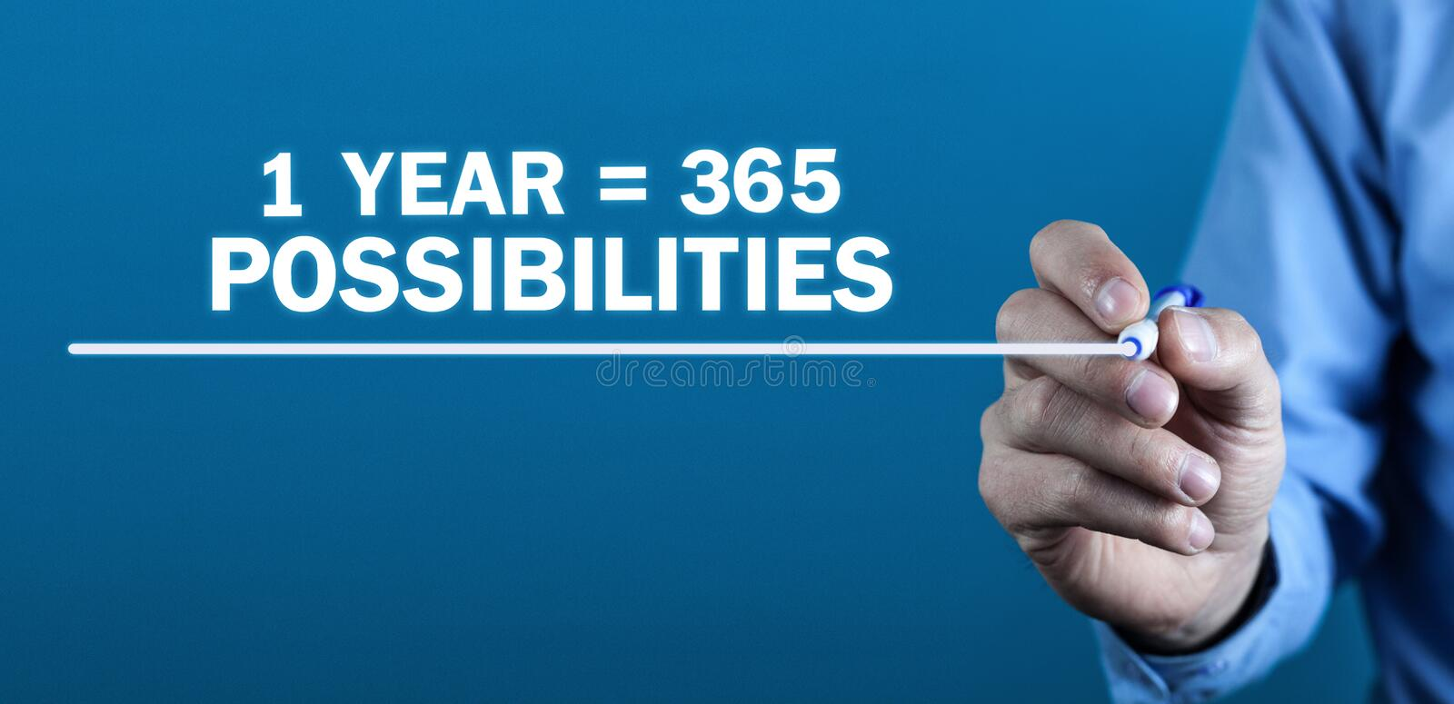 1 year 365 Possibilities. Positive thinking. Business concept royalty free stock image