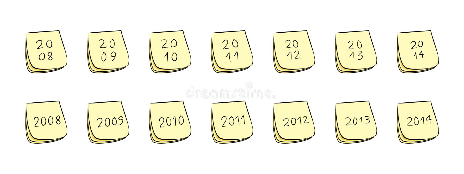Download Year Post-It Notes stock vector. Image of years, schedule - 12634126