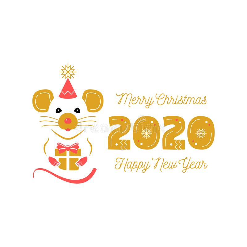 Year of the Rat 2020 Chinese Zodiac. Christmas Card and Happy New Year Greetings. Cute rat and date 2020 year. Modern vector illustration