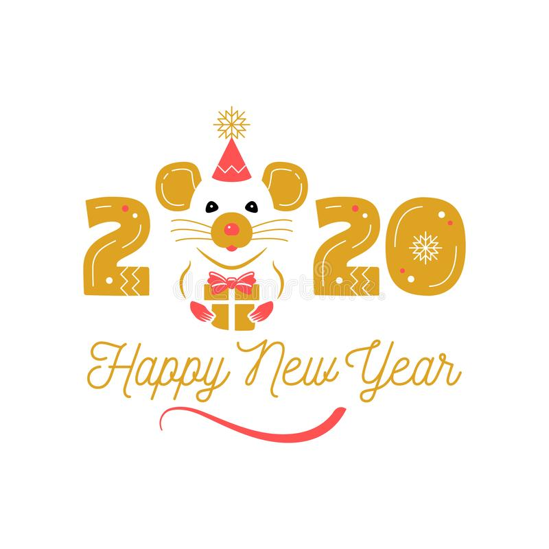 Year of the Rat 2020 Chinese Zodiac. Happy New Year greeting card. Cute rat and date 2020 year. Elegant vector stock illustration