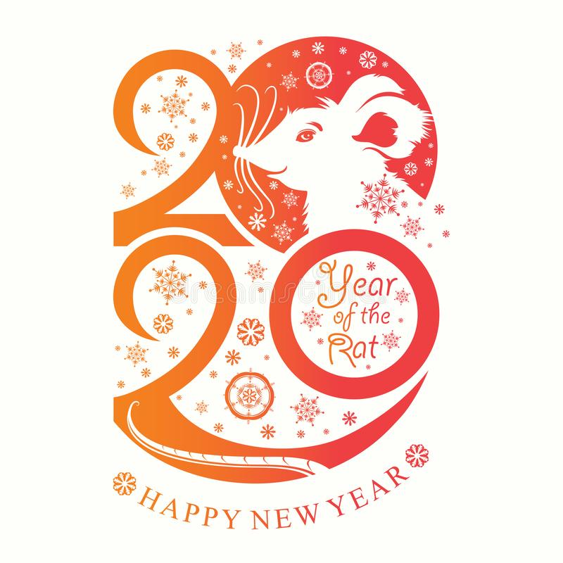 Year of the Rat 2020. Happy New Year 2020. Vertical template New Year`s design on the Chinese calendar. stock illustration