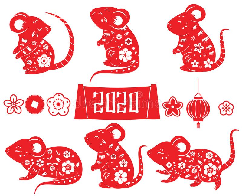 2020 year of rat. Mouse collection for Chinese new year design. animal. Lantern, flowers and other isolated elements in red color. Vector set vector illustration