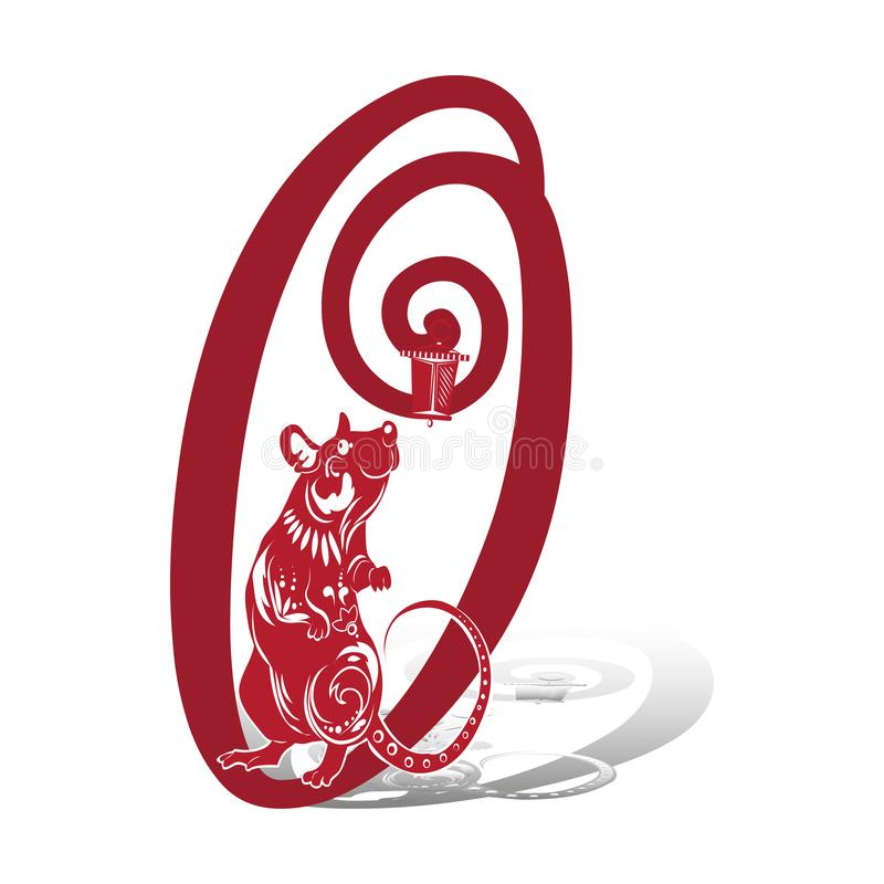 Year of the rat, red silhouette. Decoration for 2020 Chinese year of the rat, on a white background royalty free stock photo
