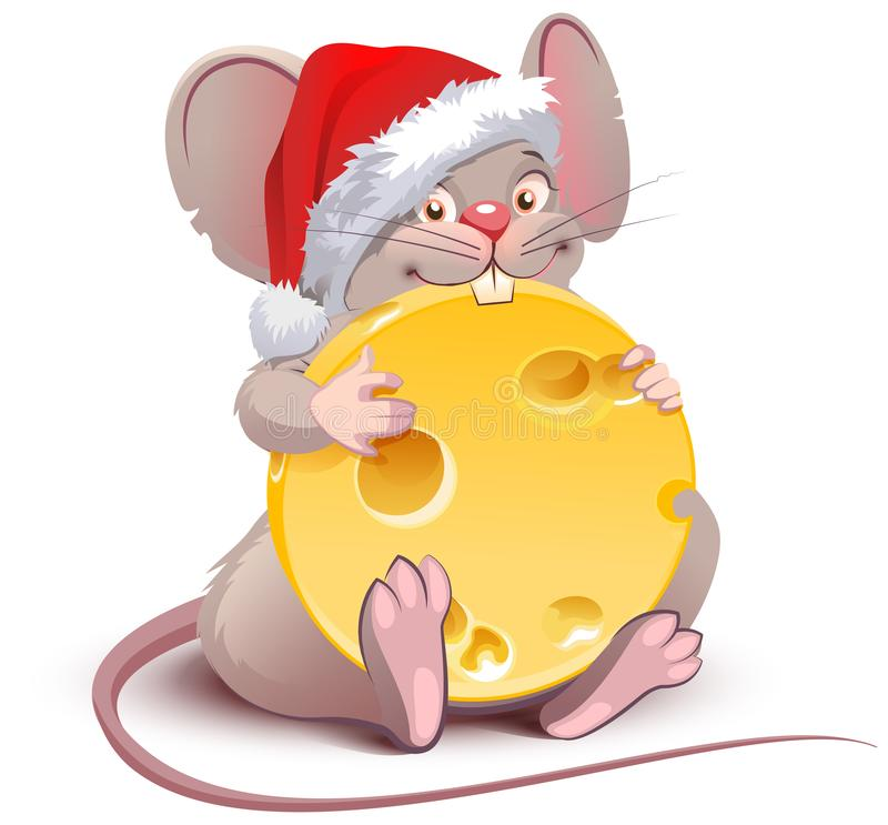 2020 year of rat to Chinese calendar. Santa rat holds big round cheese stock illustration
