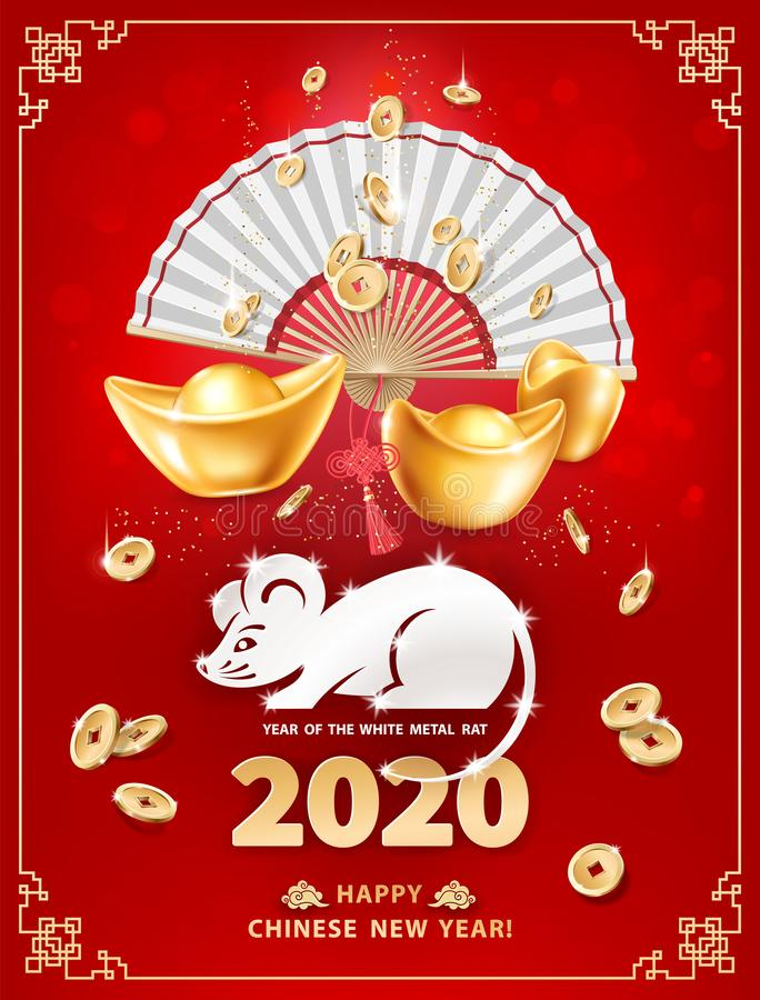 2020 Year of the RAT vector illustration