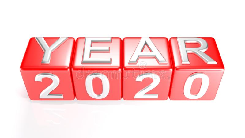 Year 2020 on red cubes - 3D rendering. Four red cubes on which the writes `YEAR` and 2020 are written with metallic chrome letters - 3D rendering royalty free illustration
