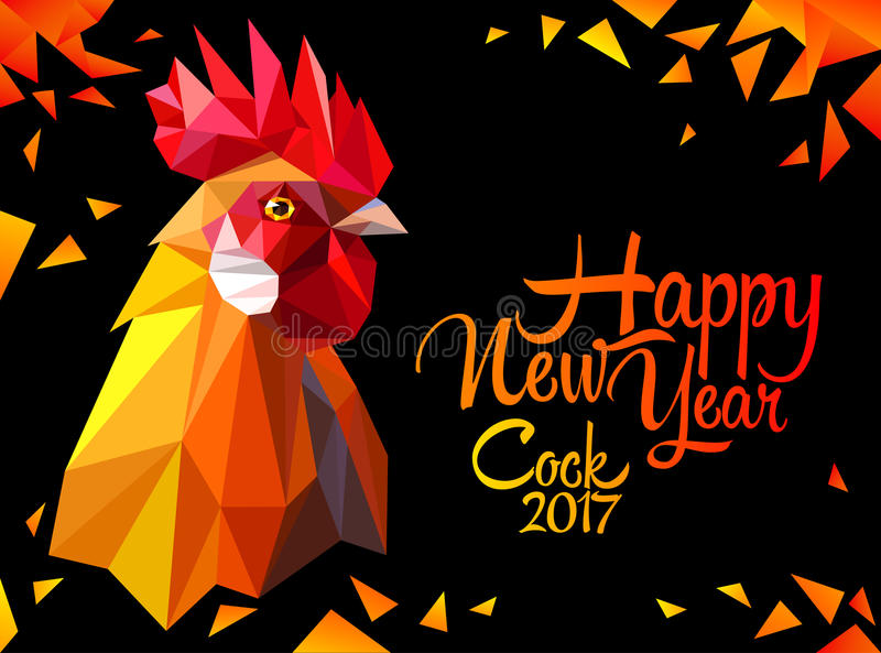 Year of red fiery. Bright postcard with a rooster. Red fiery symbol of New Year 2017. Polygonal Geometric Triangle style. Vector illustration vector illustration