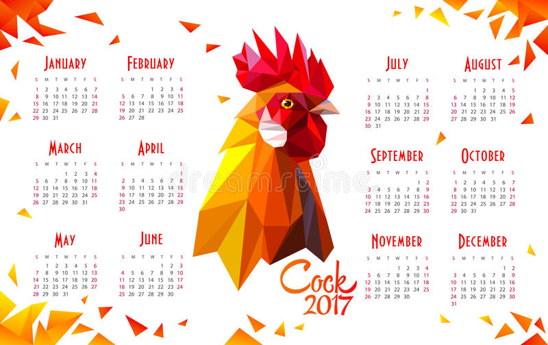Year of red fiery. Calendar 2017 on white background with a rooster. Red fiery symbol of New Year 2017. Polygonal Geometric Triangle style. Vector illustration royalty free illustration