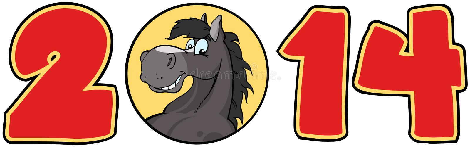 Download 2014 Year Red Numbers With Horse Face Over A Circl Stock Vector - Illustration: 31656984