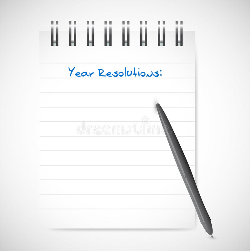 Year resolution notepad list illustration. Design over a white background royalty free stock photography