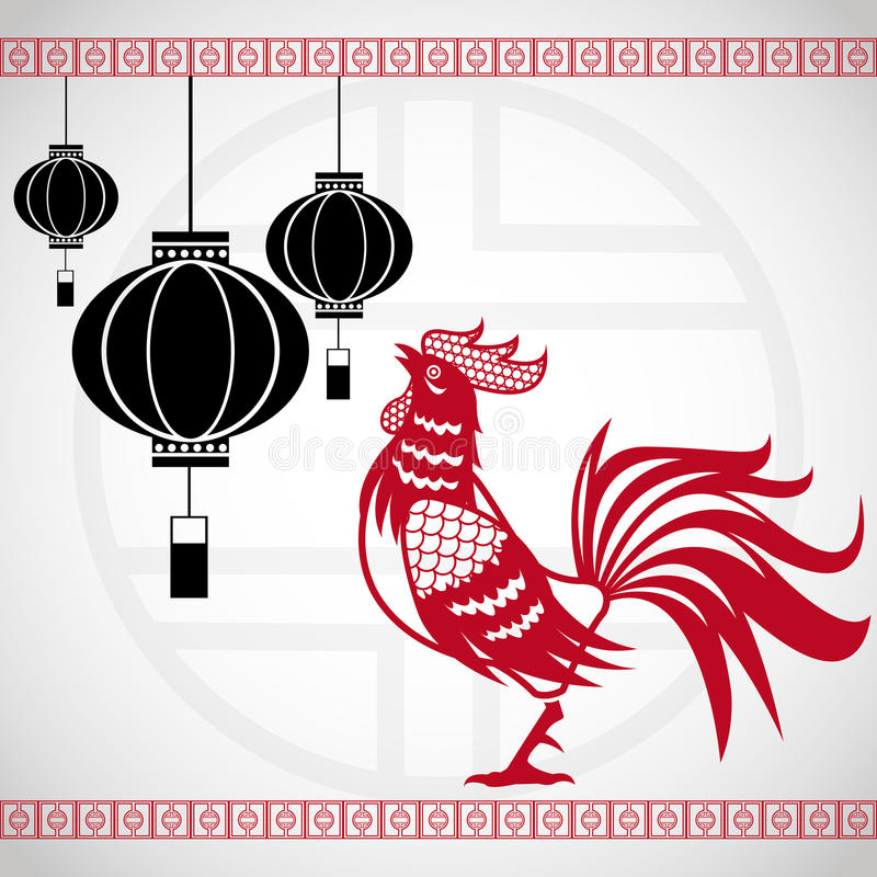 Year rooster chinese calendar lanterns hanging vector illustration