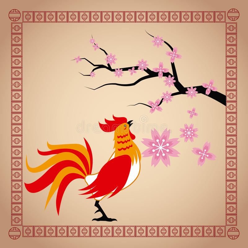 Year rooster chinese calendar sakura flower stock illustration