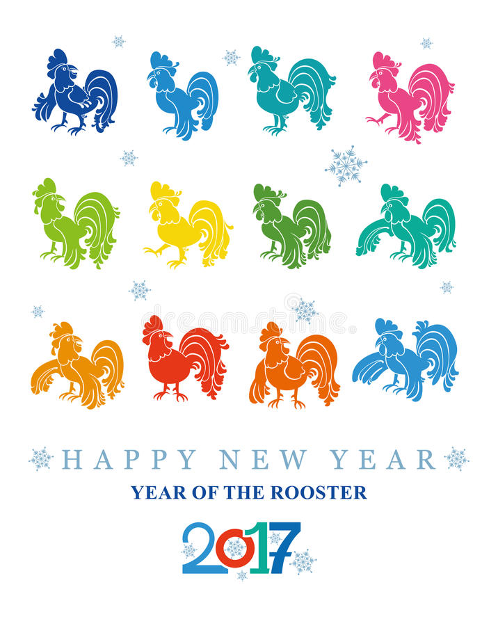 Year of the rooster. stock illustration