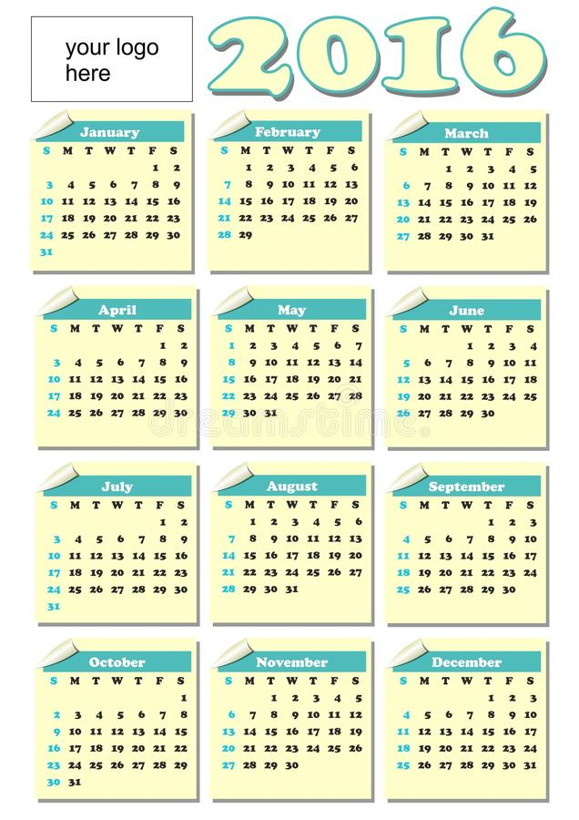 2016 year-round calendar with rolled paper tickets for each month, light yellow and green color, empty place for corporate logo stock illustration