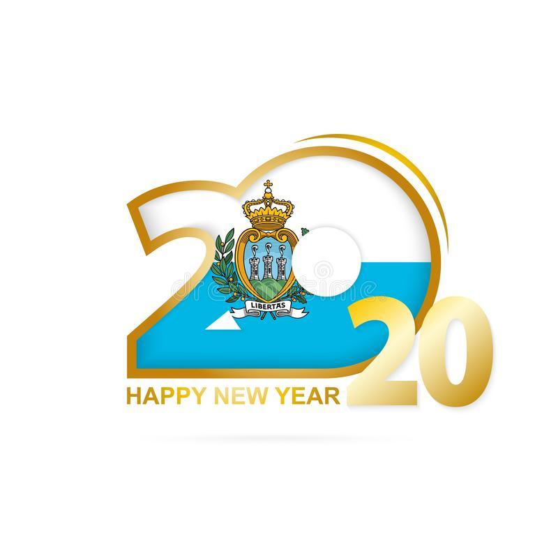 Year 2020 with San Marino Flag pattern. Happy New Year Design stock illustration