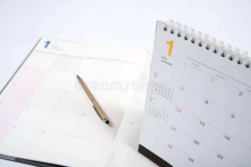 2018 year schedule book with calendar stock photography