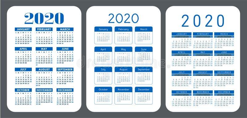 2020 year. Simple pocket calendar set. Vector design collection. Color English calender. Basic grid template for print. Week vector illustration