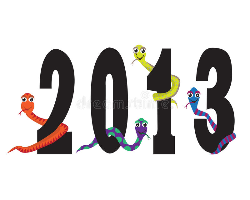 Download Year snakes stock vector. Image of cheerful, cute, painting - 26081470