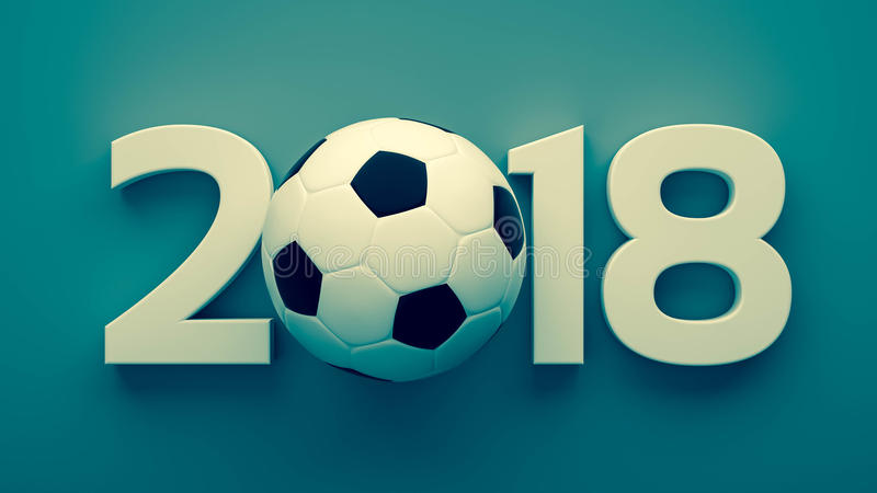 Year of 2018 and soccer ball stock illustration