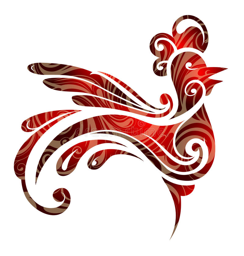 Year 2017 symbol rooster royalty free illustration