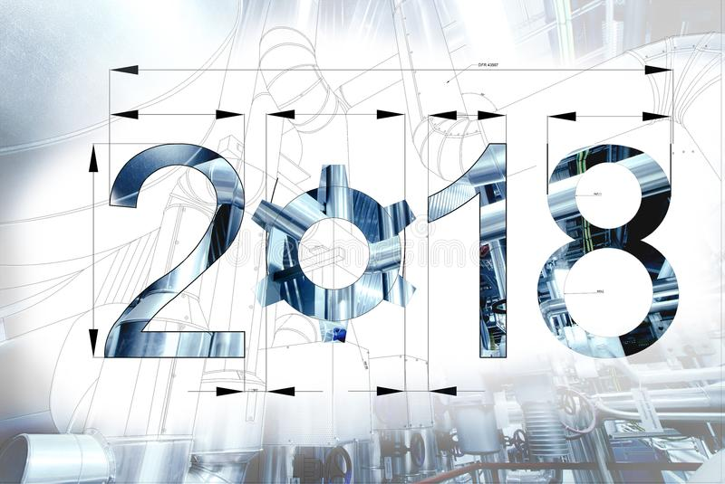 2018 year text calendar blueprint drawing combined with picture stock image