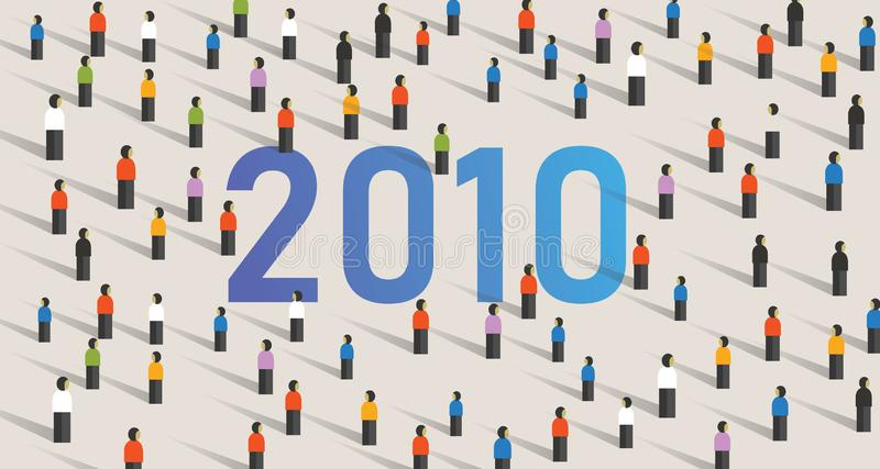 Year 2010 text among crowd large diverse audience together group of people stock illustration