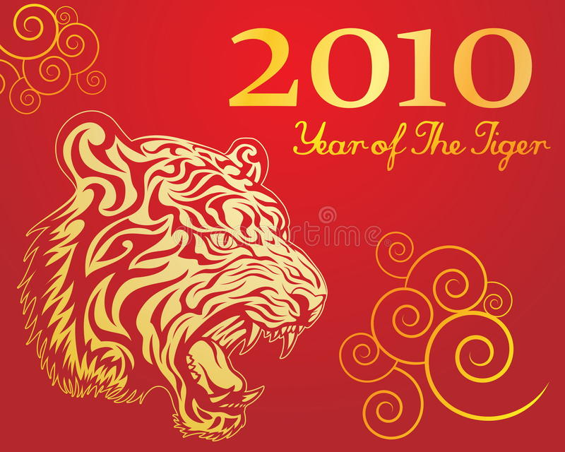 Download Year of the tiger 2 stock vector. Image of year, golden - 12338328