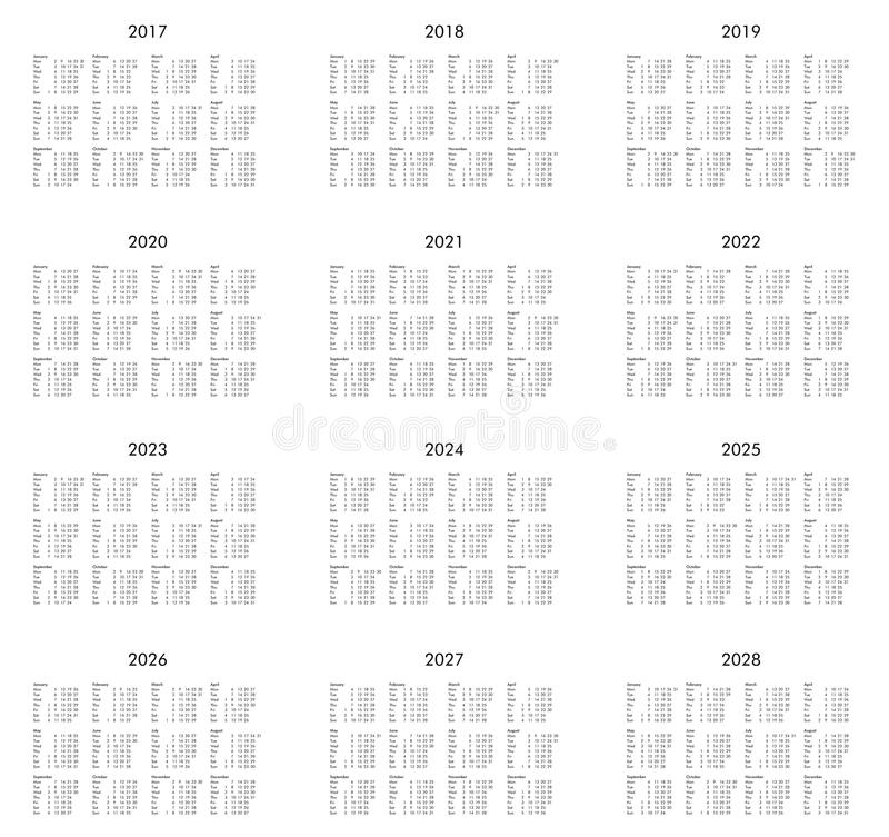 Year 2017 to 2028 calendar royalty free illustration