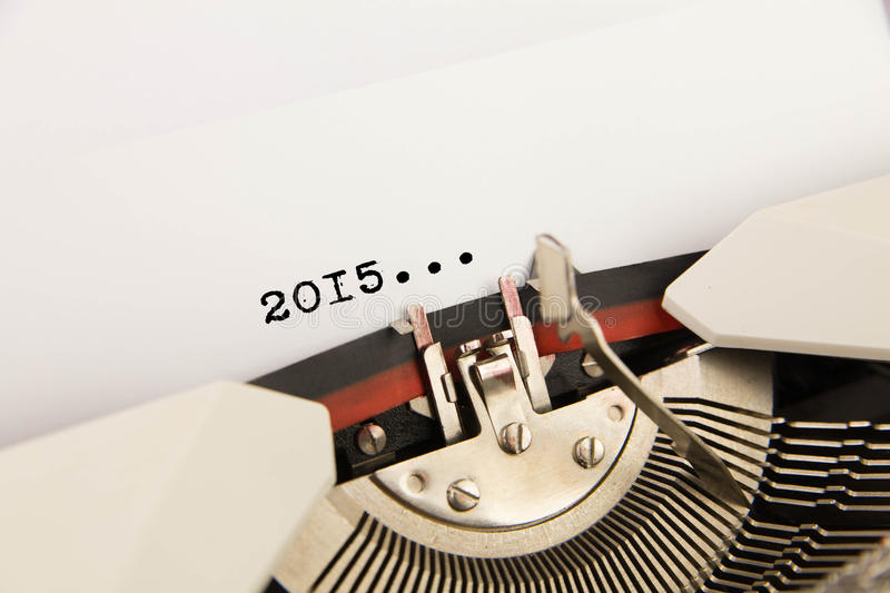 2015 year on typewriter. Isolated royalty free stock photography