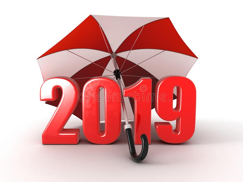 Year 2019 under umbrella vector illustration
