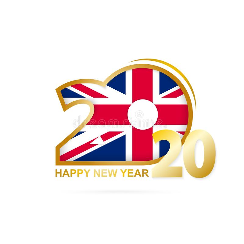 Year 2020 with United Kingdom Flag pattern. Happy New Year Design. Vector Illustration royalty free illustration