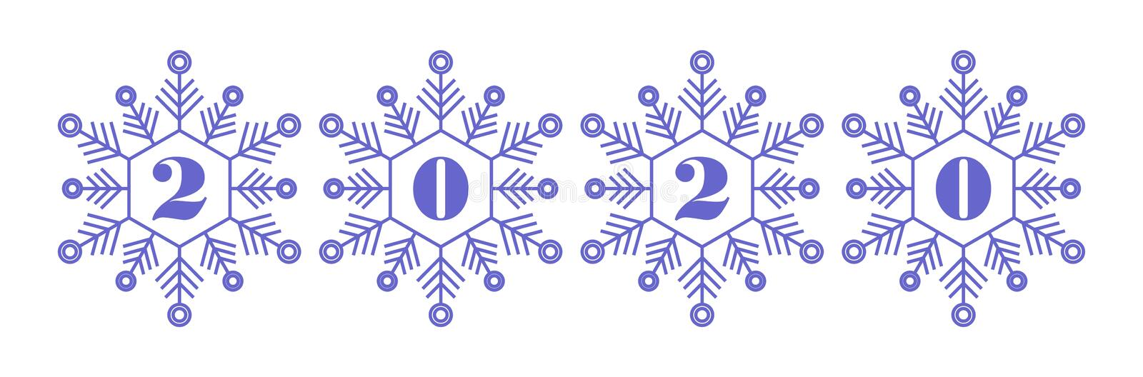 2020 year vector icon blue snowflakes white background royalty free stock photography
